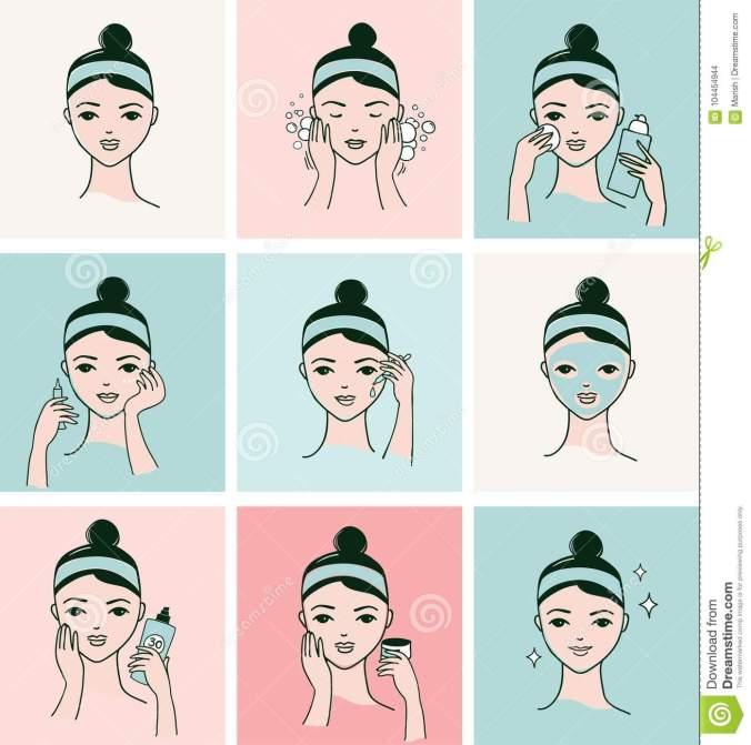 routine-de-soins-la-peau-visage-femme-avec-une-bannière-faciale-différente-procédures-104454944